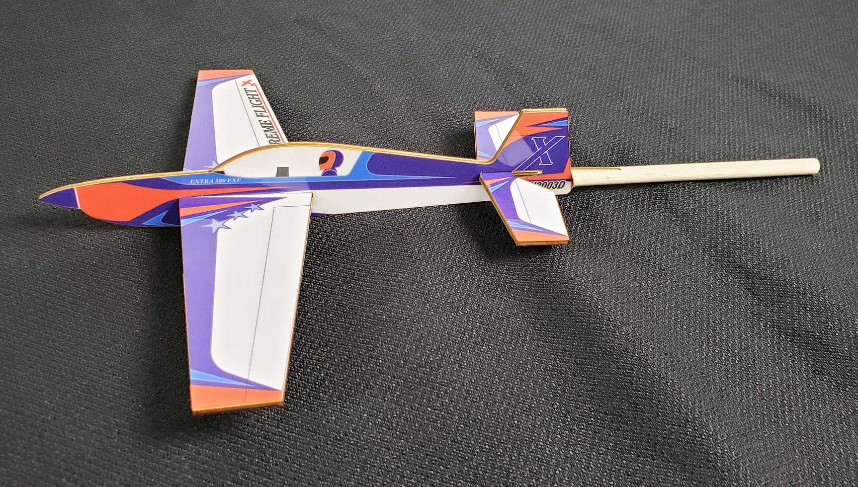 Extreme Flight Stick Plane - Extra Orange/White/Blue Scheme