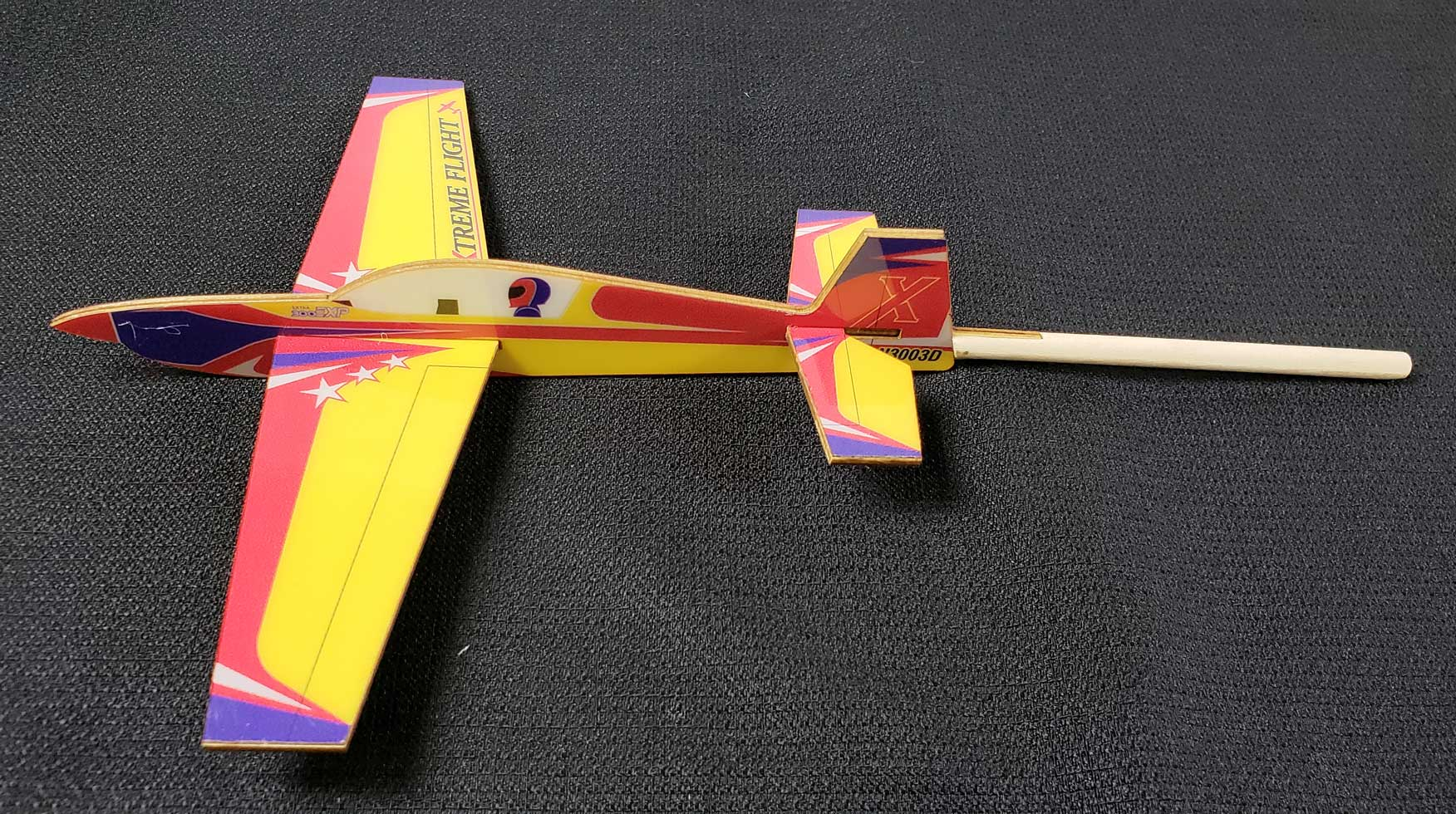 Extreme Flight Stick Plane - Extra Yellow/Red/Blue Scheme