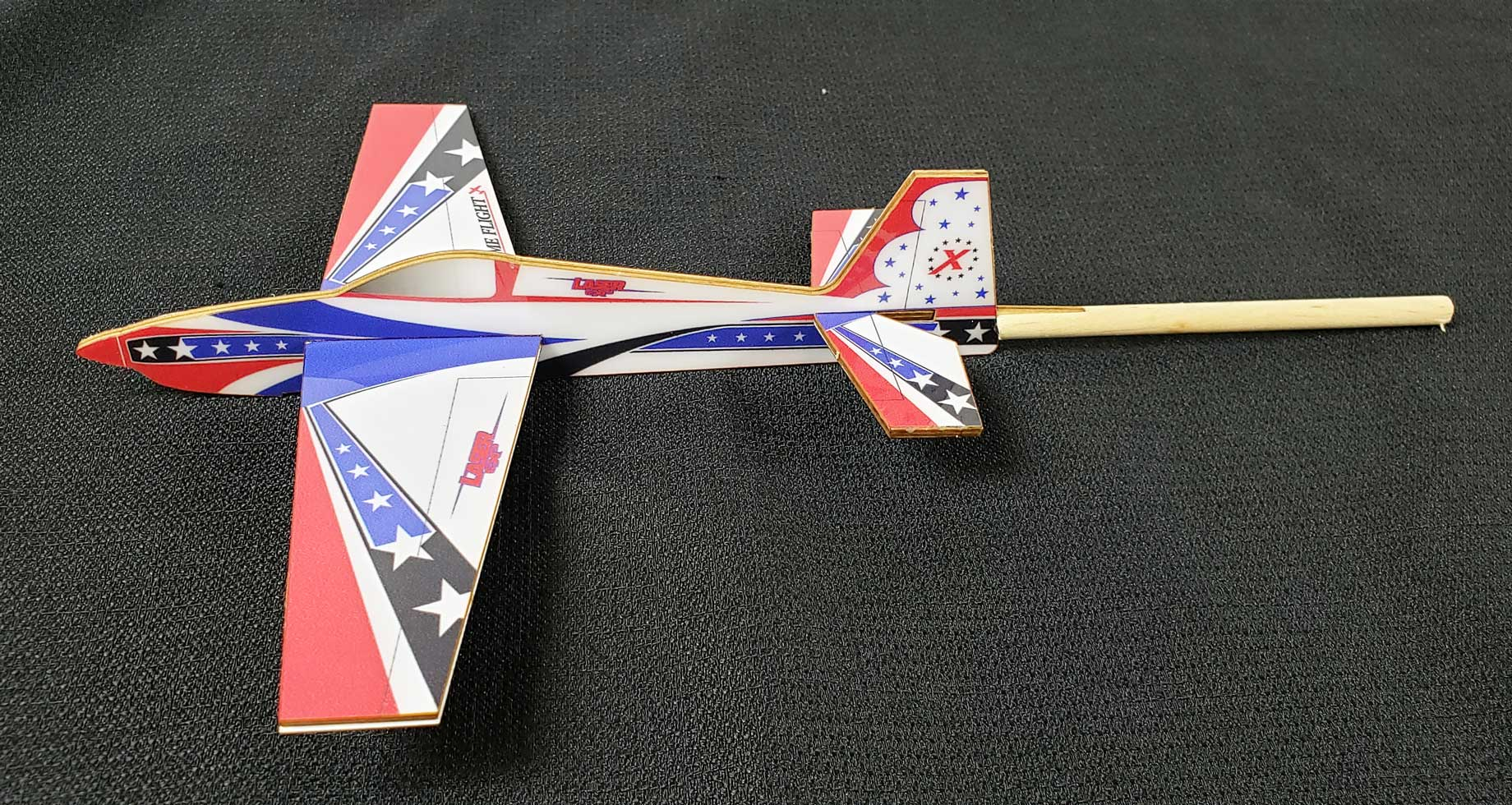 Extreme Flight Stick Plane - Laser Red/White/Blue Scheme